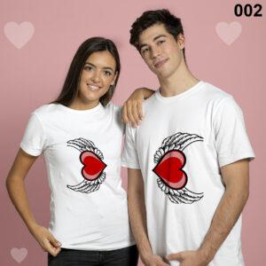 Flying Heart Design Matching Couple Set Tshirt