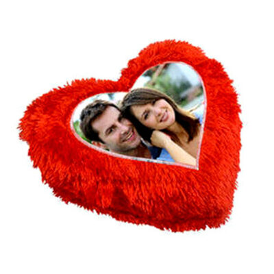 Personalized RED Heart Photo Cushion